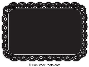 Place Mat, Black Eyelet Lace