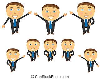 set of cartoon emotional businessma