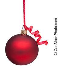 Red Christmas Ornament - A red Christmas Ornament handing...