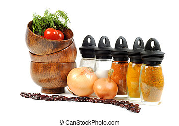 Fresh vegetables, spice and onions - Spice set, wooden...