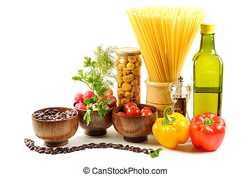 Fresh vegetables, pasta, spice and oil - Vegetables , oil,...