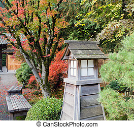 Japanese Garden Park Benches in the Fall