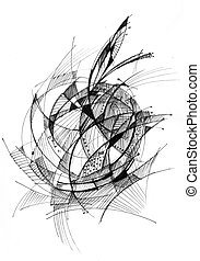Abstract drawing black ink - Apple - Abstract drawing black...