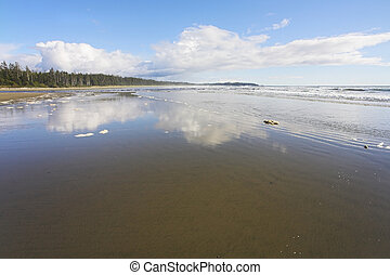 The beach filled by water - The wide sandy beach filled in...