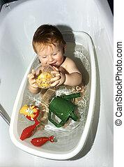bebê, banheira, banho
