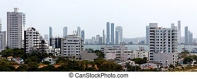 Cartagena Caribbean Skyline - A panoramic view of apartment...