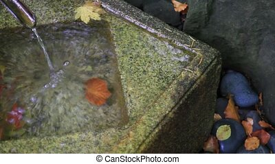 Water Fountain in Japanese Garden - Bamboo Water Fountain in...