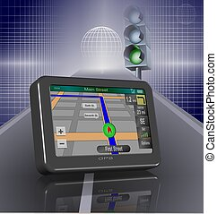 GPS and road - Global positioning system on a road and a...