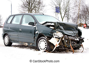 Caption: - The dark car after the occurred failure (the car...