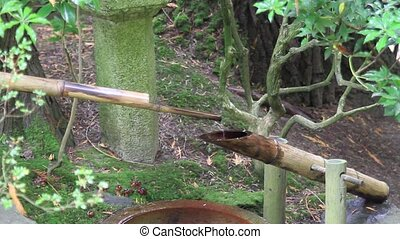Water Fountain in Japanese Garden - Round Bamboo Water...