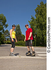 rollerblade - Adult roller skates in the summer of sunny air