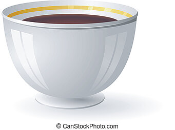 Vector illustration of a porcelain bowl with coffee