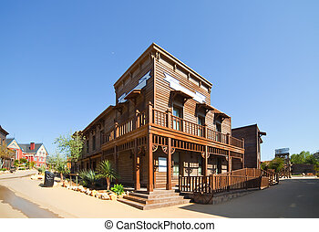 Wild west town - Far west Theme Park near Salou. Catalonia,...