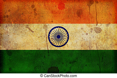 Grunge Flag of India Illustration - An old, dirty and...