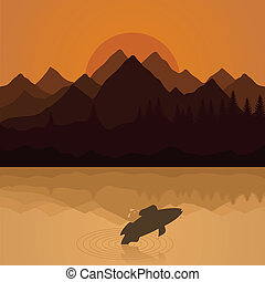 Fish on lake - Fish has jumped out of water on lake A vector...