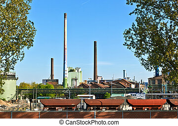 Industry park with silo and chimney in Frankfurt Hoechst ob...