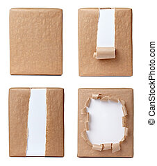 ripped wrapping box package - collection of various views of...