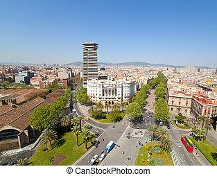 Rambla. Barcelona, Spain - Top view of La Rambla. Barcelona,...