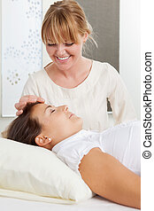 Needle Stimulation During Facial Acupuncture - Professional...