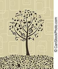 Musical tree4 - Tree from musical notes. A vector...