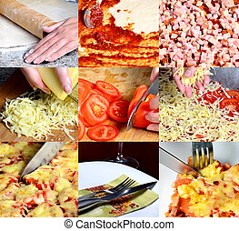 PIzza making collage - PIzza making, collage of six images