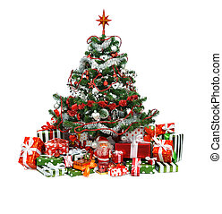 decorated Christmas tree - heap of festive gift boxes under...