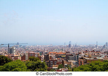 Aerial view of Barcelona and its skyline, Spain
