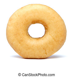 donut - Single sugared plain doughnut from low perspective.