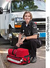Happy Paramedic Portrait - Portrait of a happy paramedic...