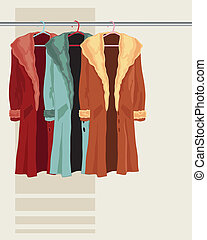 coat on a hanger - illustration of three faux fur coats...
