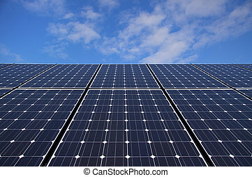 Solar Panels - Photovoltaic solar panels against blue sky...
