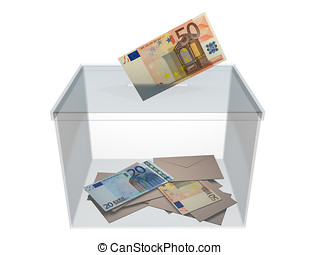 Voting with euros - Voting in a ballot box with an euro...