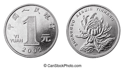 Yuan - Obverse and reverse of chinese coin one yuan isolated...