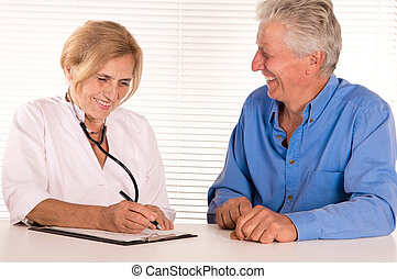 elderly doctor with patient