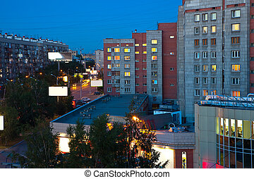 night view of residential district at Novosibirsk city...