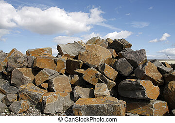 Stone blocks for construction - A pile of stone blocks for...