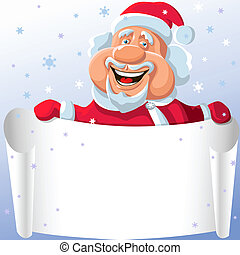 vector funny cartoon Santa Claus with a paper scroll in his hand