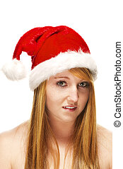 young redhead woman wearing santas hat on white background