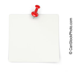 Paper with pin - 3d render of blank paper with red pin on...
