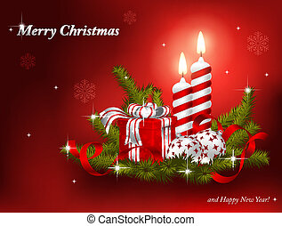 Christmas background with fir branches, baubles, gift and...