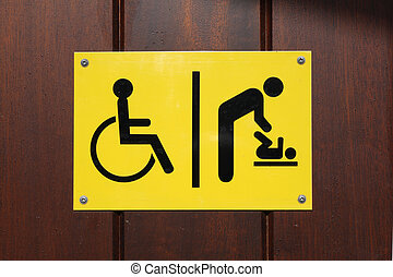 Disabled and baby changing sign - Yellow and black disabled...