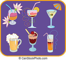Cocktails - Icon set of four cocktail, latte and beer on...