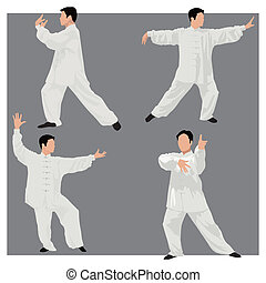 Tai chi - Four forms of Tai-chi. Color illustration.