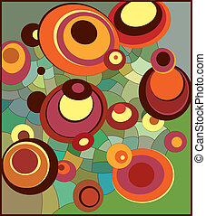 Random circles on the net - Abstract vector illustration....