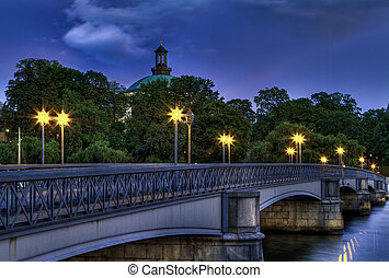 Illuminated bridge at night - Vintage bridge with old...