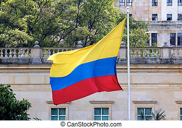 Colombian Flag at Casa Narino Presidential Palace - The...