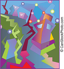 Abstract street - Abstract vector illustration. High...
