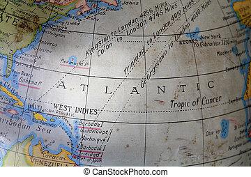 Atlantic Ocean - Atlantic ocean on an old dirty toy globe.