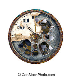 grunge and broken clock dial isolated on white
