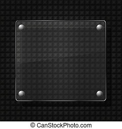 vector glass on metal background